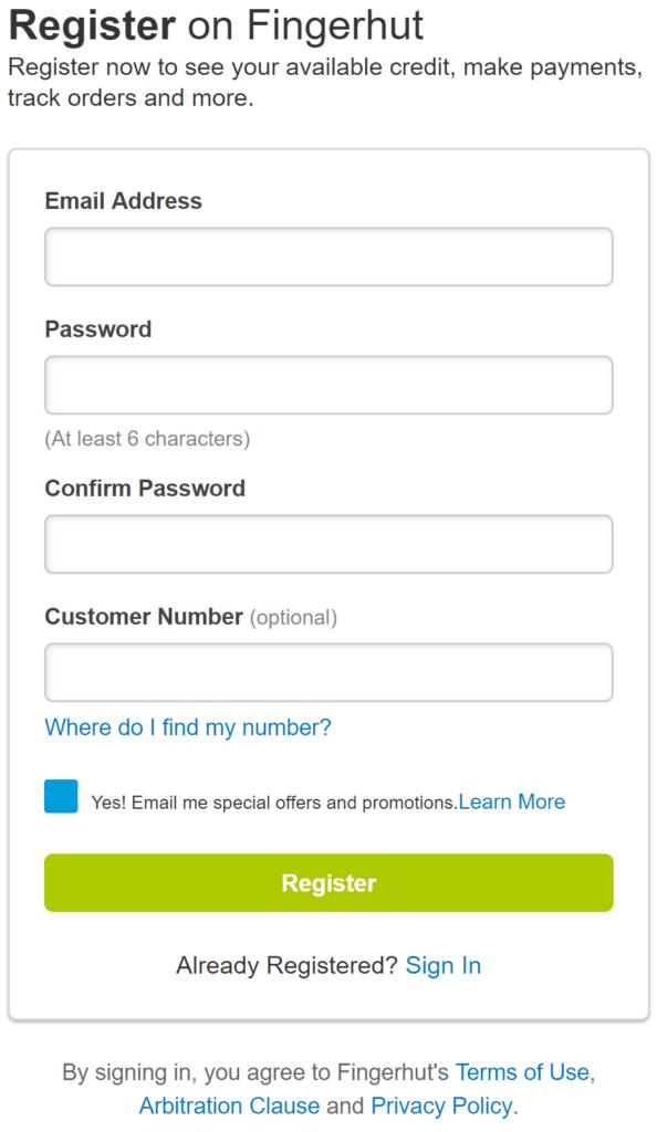 Fingerhut Membership Registration Screen