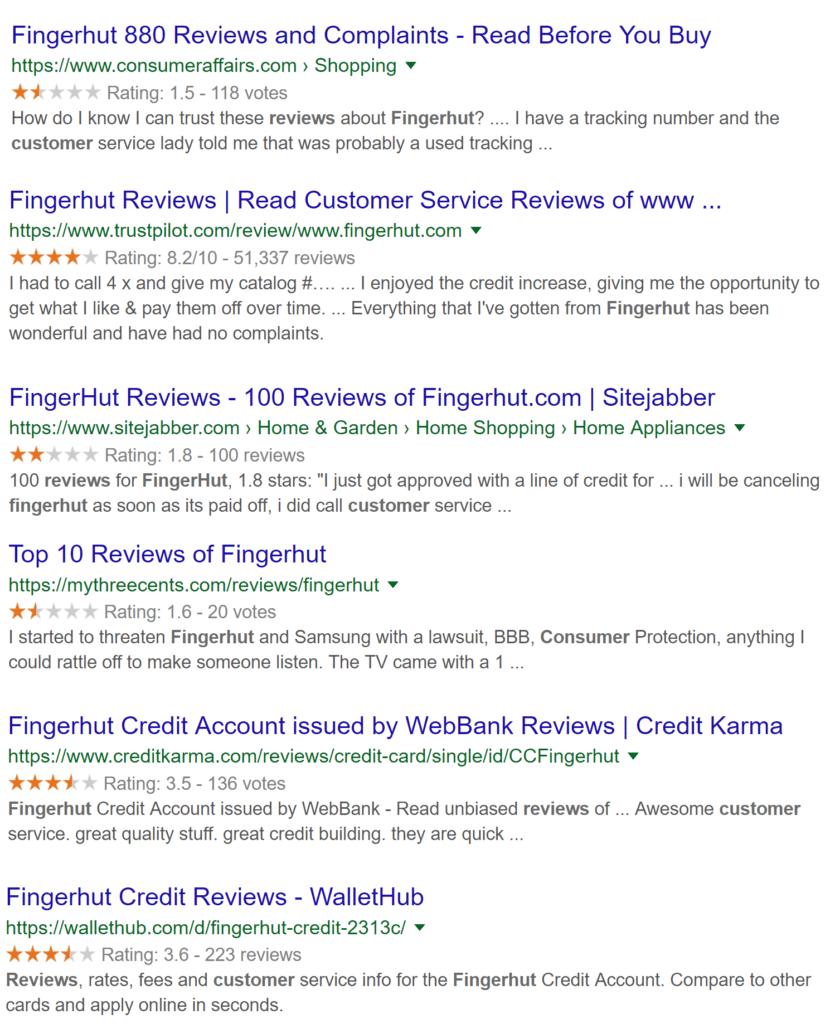 Fingerhut Online Reviews